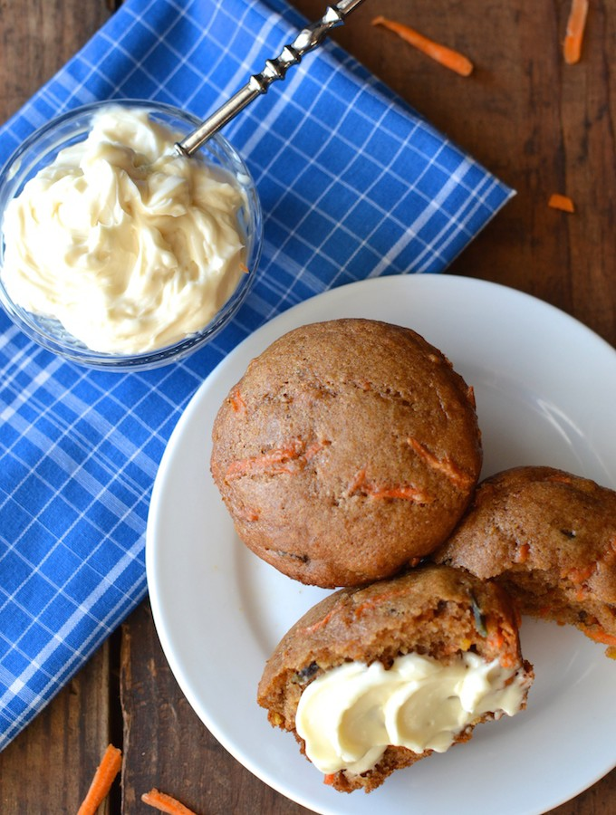 Carrot Cake Muffins with Maple Cream Cheese