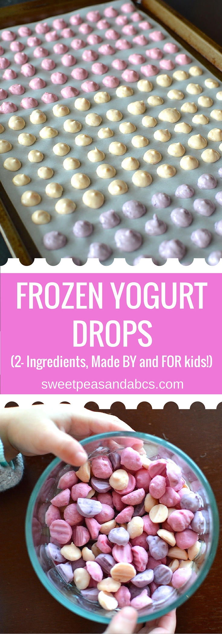 Frozen Yogurt Drops - A two-ingredient, real-food snack recipe made BY and FOR kids! Whole milk yogurt and fruit puree, that's it! ~sweetpeasandabcs.com