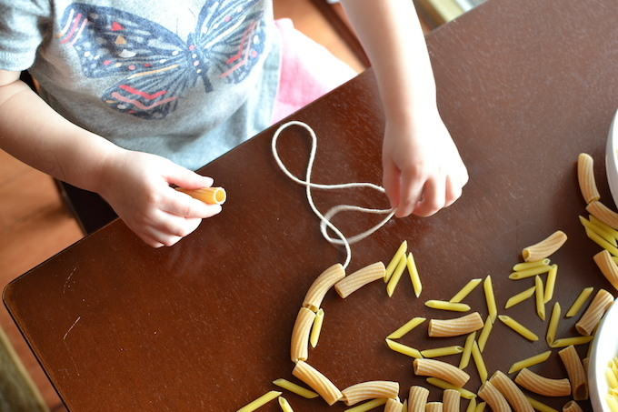 Threading with Noodles - Sweet Peas and ABCs