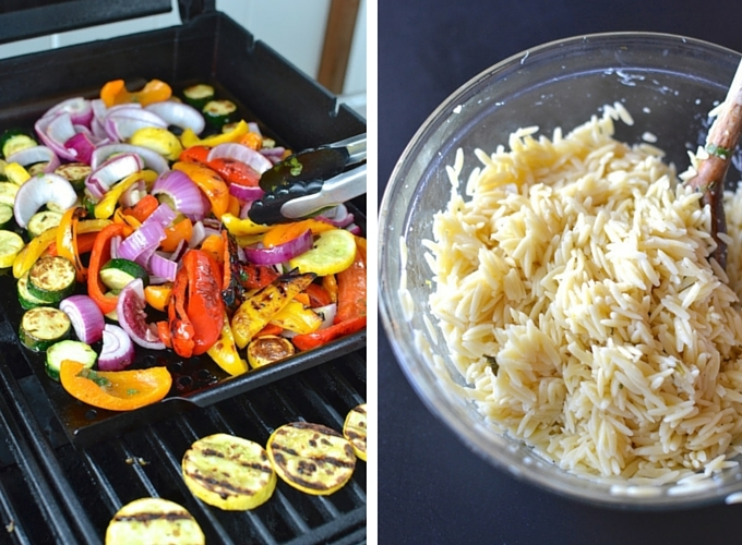 Summertime Mixed Grill with Lemony Orzo - A perfect summertime feast! Grilled meat and colorful vegetables marinated with lemon, garlic and herbs, served with lemony orzo. ~sweetpeasandabcs.com
