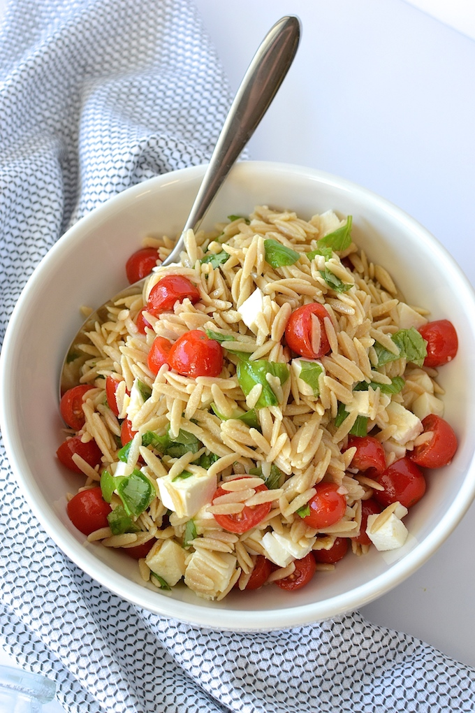 Caprese Orzo Salad With Balsamic Syrup Sweet Peas And Abcs