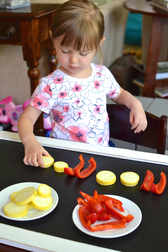 Building Produce Patterns - Kids learn about and build simple and complex patterns using vegetables! ~sweetpeasandabcs.com
