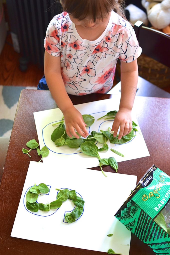 Exploring the Letter S - Use spinach leaves for hands-on exploration with the letter S. ~sweetpeasandabcs.com