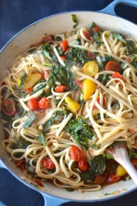 Pasta with Greens and Balsamic Tomatoes