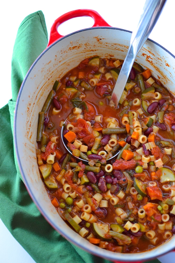 Garden Minestrone Soup - A vegetarian, fall-favorite soup loaded with beans, pasta and eight garden vegetables! ~sweetpeasandabcs.com